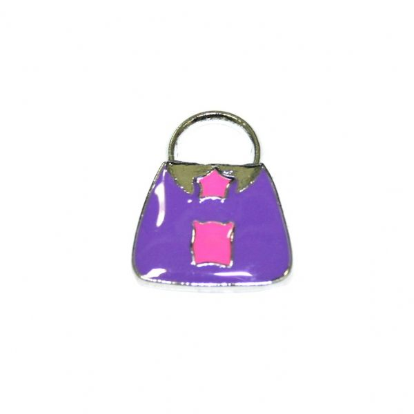 1 x 19*15mm hodium plated purple handbag with little cute piggy enamel charm - SD03 - CHE1331